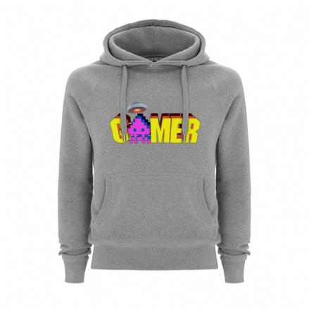 Gamer Mens / Unisex Grey Hoodie With Space Invaders Themed Design
